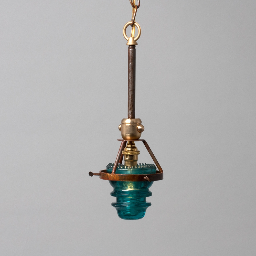 Single Telegraph Pendant Blue Industrial Lighting Insulator