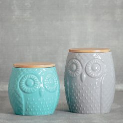 Sitka owl jar kitchen canister relish decor