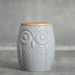 Sitka owl jar kitchen canister large grey relish decor large