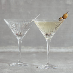 Soho Crystal Martini Glass Set with Olive Toothpick Relish Decor