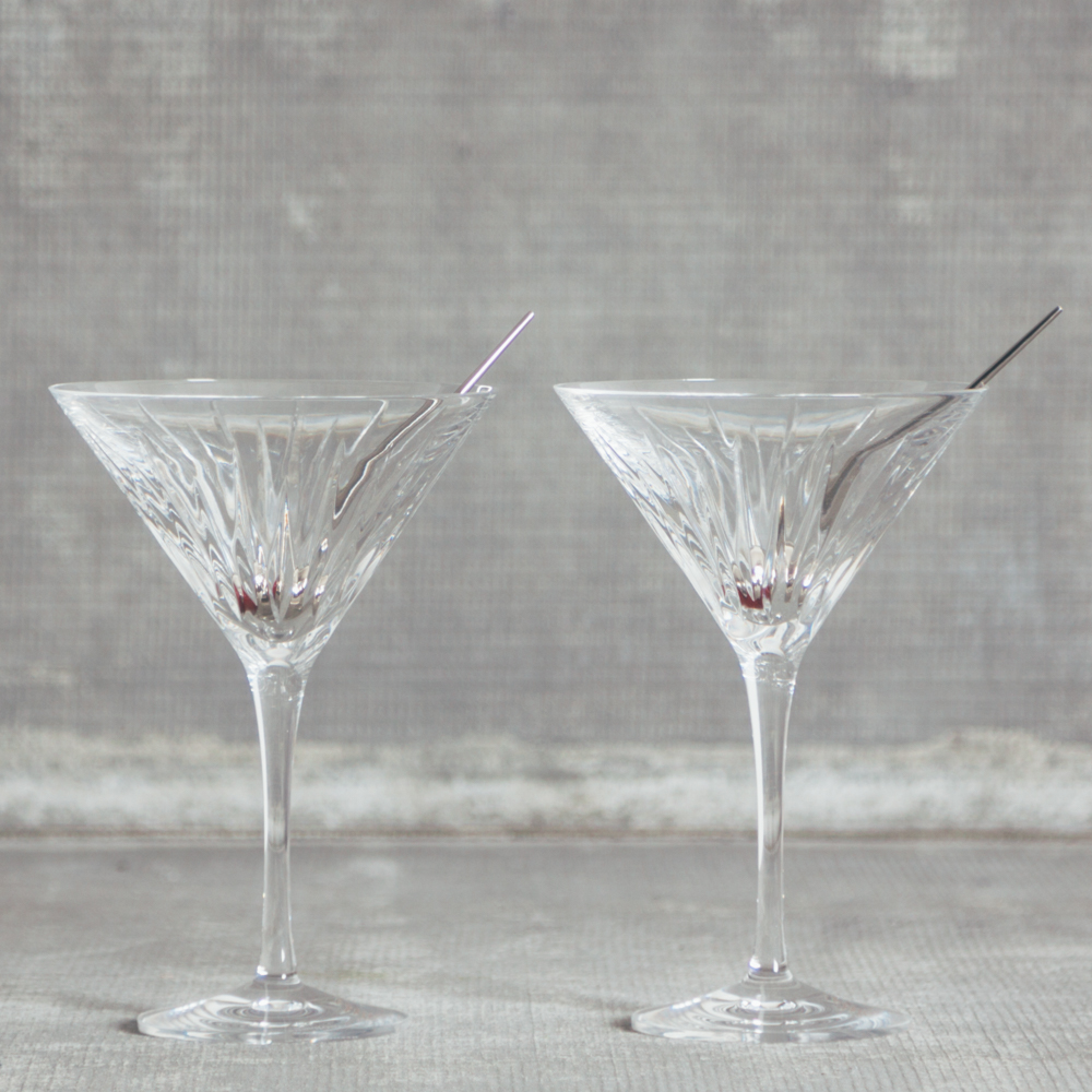 Soho Crystal Martini Glasses Set with Olive Toothpick Relish Decor