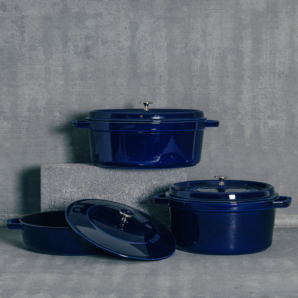 Staub French Dark Blue Cookware Cast Iron Collection Dutch Oven Relish Decor