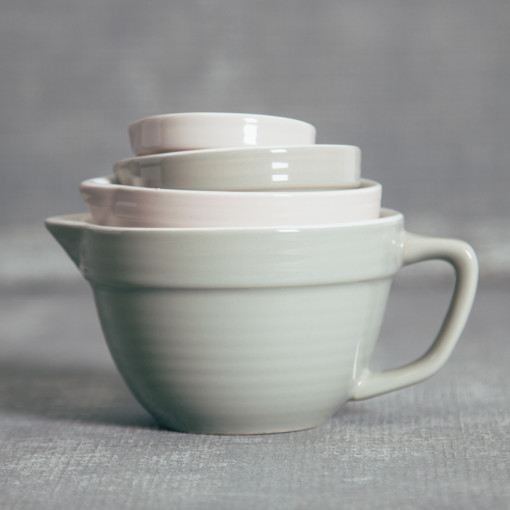 Stoneware Batter Bowl Measuring Cups Greyscale Neutrals Relish Decor