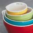 Stoneware Batter Bowl Measuring Cups Primary Colors Brights Relish Decor