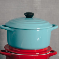 Stoneware Mini Cocotte Light Blue Red Baker Relish Decor