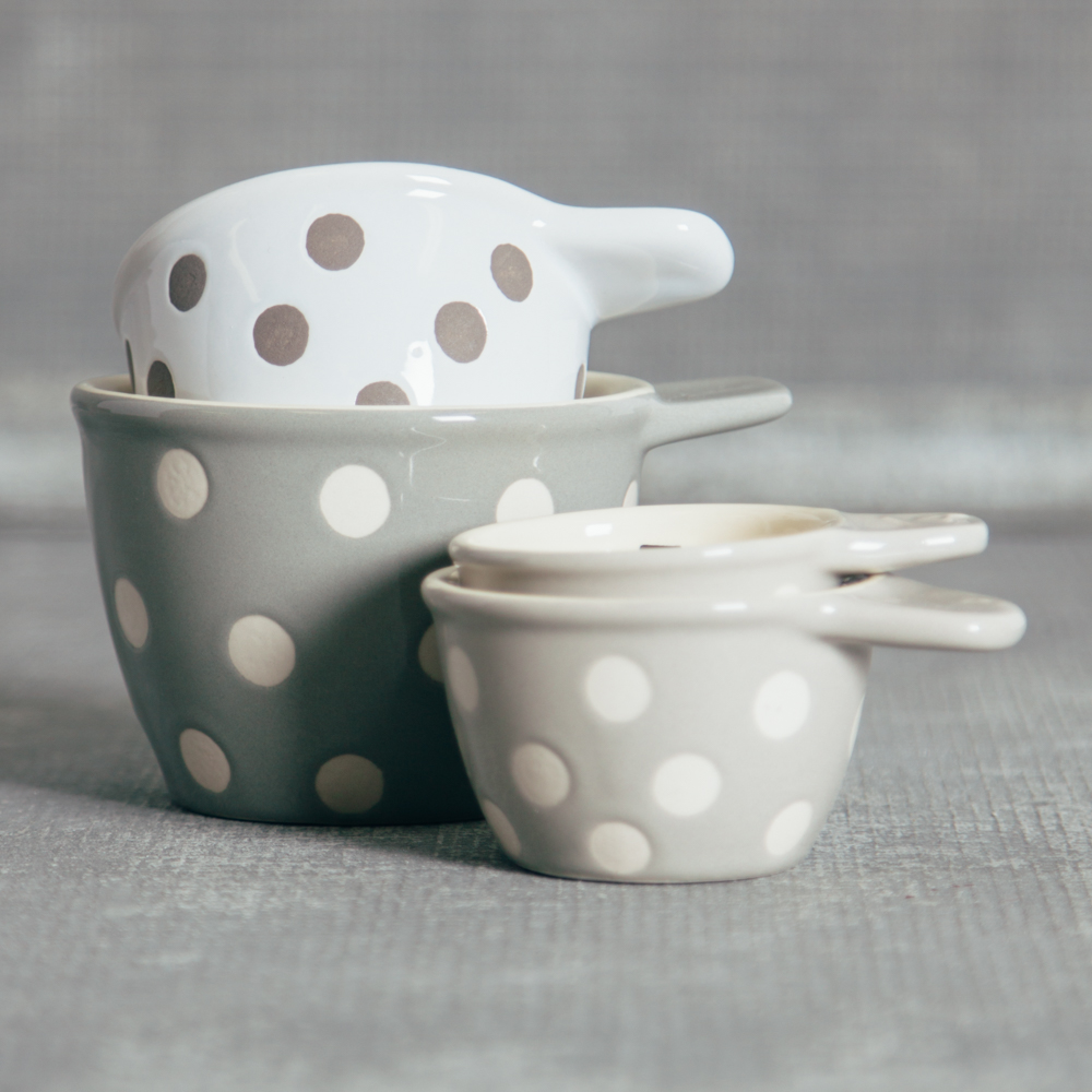 Stoneware Polka Dot Measuring Cups Greyscale Neutrals Colors Relish Decor