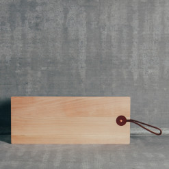 Sycamore Board by the Foot Cutting Serving Board Leather Handle Copper Rivet Relish Decor