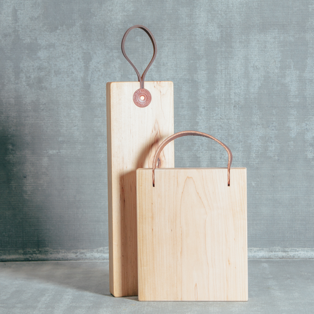 Tiger Maple Board by the Foot Leather Handle Cutting Serving Board Franklin Board by the Foot Made in the USA Relish Decor