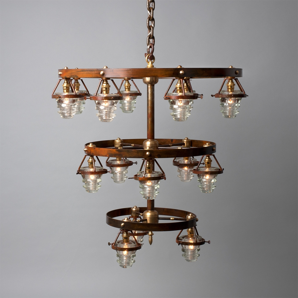 Triple Tier Industrial Insulator Chandelier Relish Decor