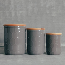 Tupelo Canisters Honeycomb Pattern Grey Bamboo Lid Relish Decor