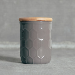 Tupelo Canisters Honeycomb Pattern Grey Bamboo Lid Small Relish Decor