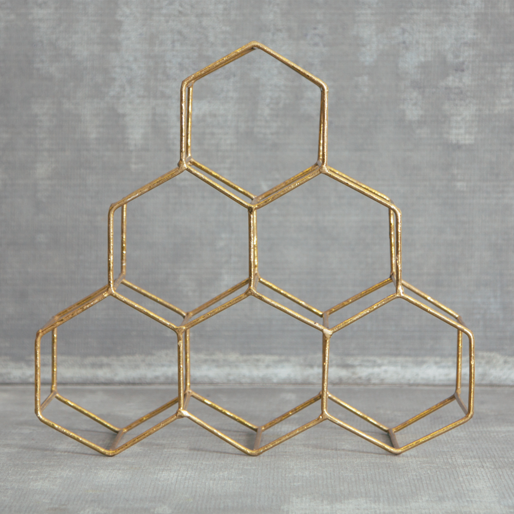 Tupelo Wine Rack Gold Geometric Honeycomb Pattern Wine Bottle Relish Decor
