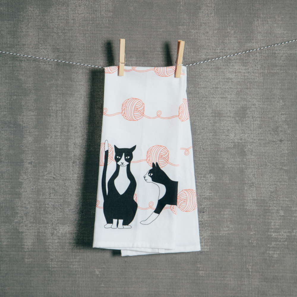 Tuxedo Cat Great Catsby Dishtowel Relish Decor