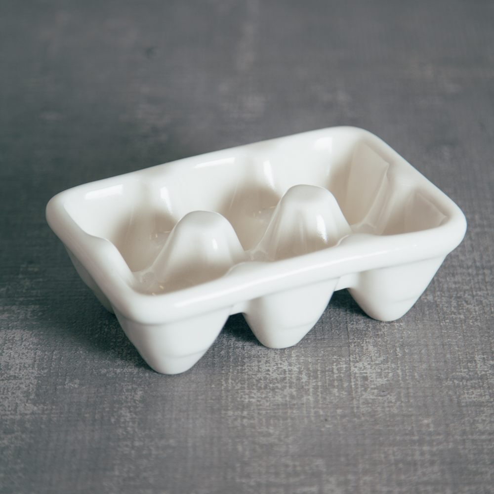 White Half Dozen Egg Ceramic Crate Relish Decor