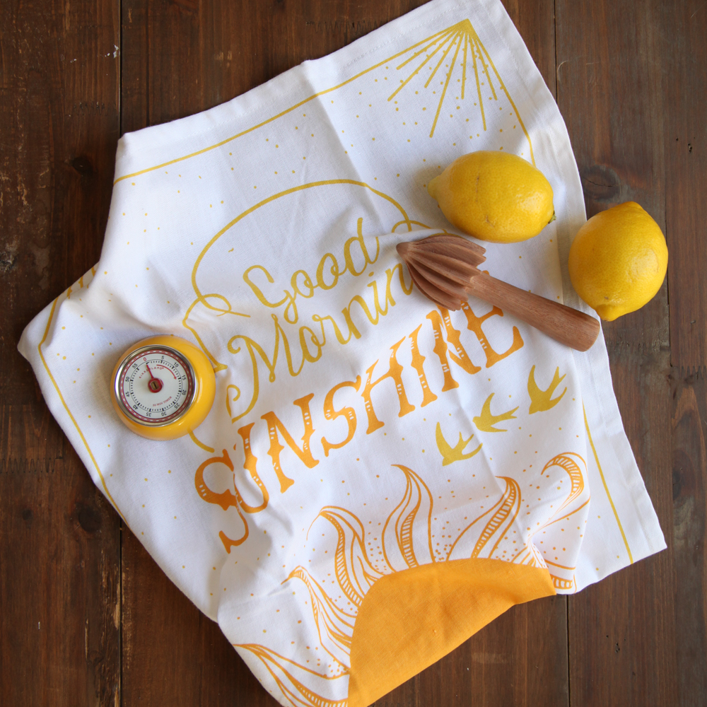 You Are My Sunshine Dishtowel Yellow Kitchen Timer Relish Decor