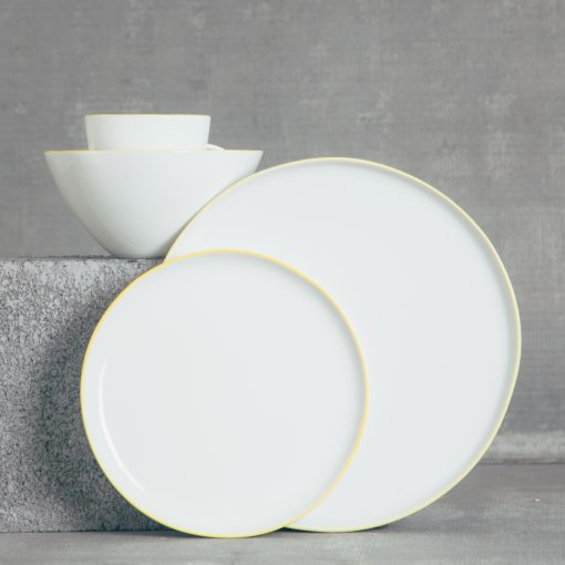 relish decor abbesses canvas home dinnerware yellow place setting