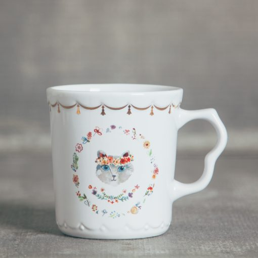 relish decor fine feline cat flower gold trim mug tea cup