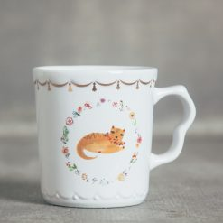 relish decor fine feline cat flower gold trim mug tea cup ginger