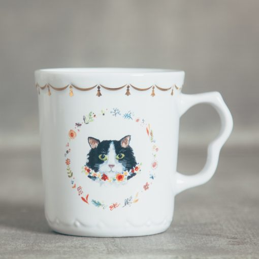 relish decor fine feline cat flower gold trim mug tea cup tuxedo