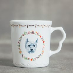 relish decor fine canine dog flower gold trim mug tea cup pug scottie