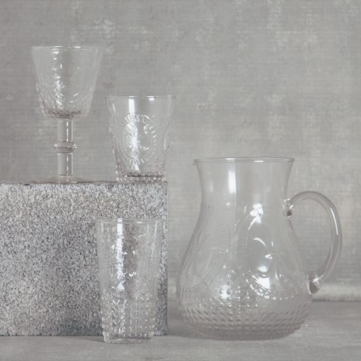relish decor la fleur de lis hobnail glassware collection and pitcher clear