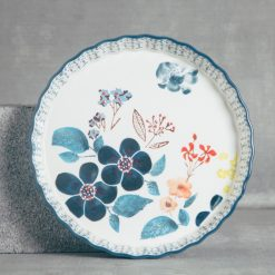 relish decor lila painted flower pie plate