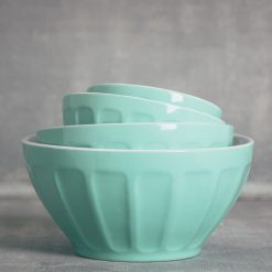 relish decor erin ceramic thumbprint mixing bowl set mint