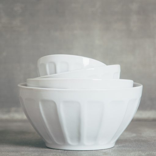 relish decor erin ceramic thumbprint mixing bowl set white