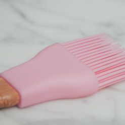 relish decor pink round silicone wood basting pastry brush