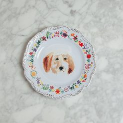 relish decor fine canine dog flower gold trim plate goldie