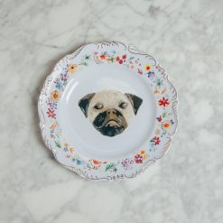 relish decor fine canine dog flower gold trim plate pug